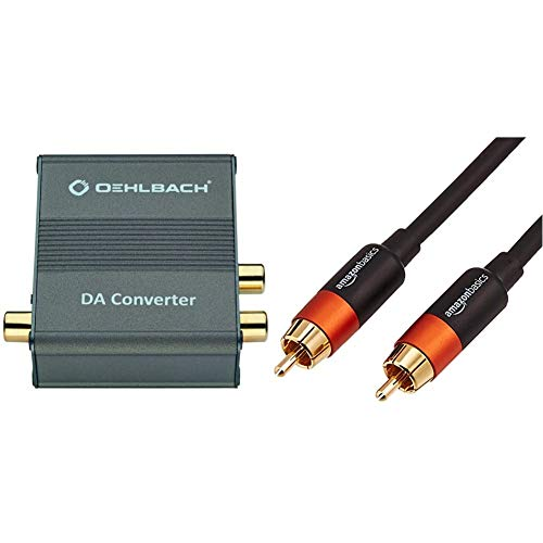 Oehlbach DA Converter - Digital/Analog Audiowandler - Koaxial/Optisch, R-L/Klinke - Cirrus Logic Chip, Metallic Braun & AmazonBasics - Digitales Audiokabel/Koaxialkabel, 1,2 m