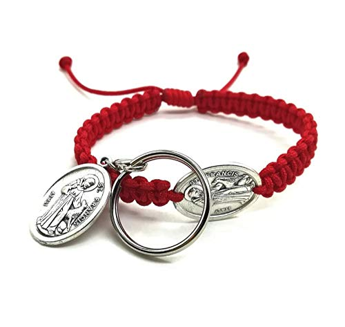 St Francis Bracelet and Dog Tag Pet Owner Gift Catholic Animal Saint Medal Red Adjustable Cord