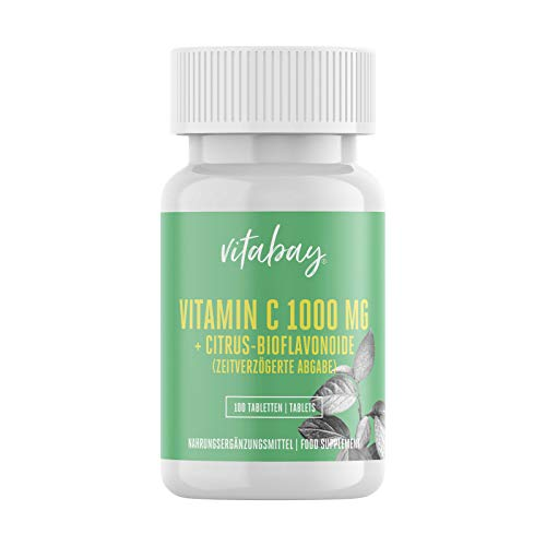 Vitabay Vitamin C + Bioflavonoide 1000 mg • 100 vegane Tabletten • Time Released • Verzögerte Freisetzung