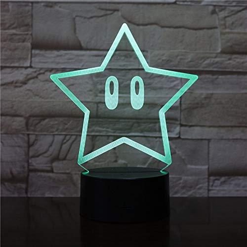 Luz de noche 3D Luz de dibujos animados de estrella fresca Luz de noche USB Luz de noche LED Regalo