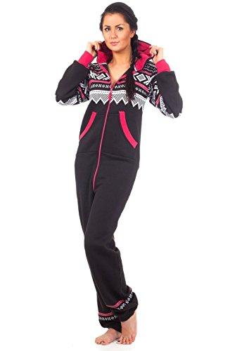 Loomiloo® Jumpsuit Onesie Overall als Freizeitanzug Hausanzug Trainingsanzug Pyjama für Damen und Herren (S/M, Schwarz)
