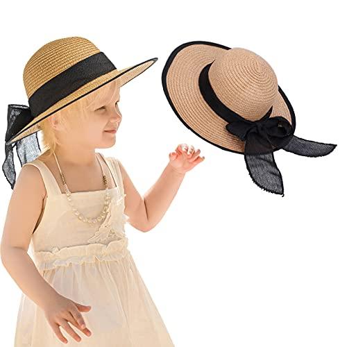 Sombrero de paja, protección solar, transpirable, ajustable, de paja, para el sol, para niños, para niños(B)