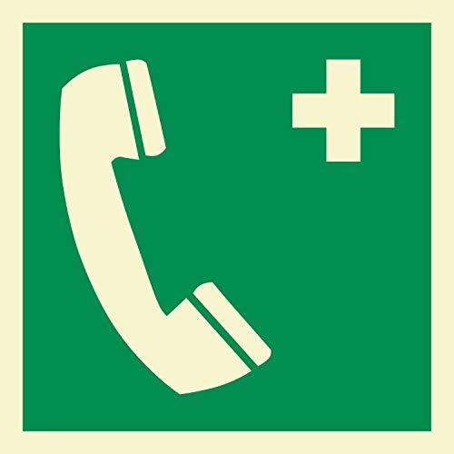 Notruftelefon Rettungszeichen Rettungswegschild Schild Nachleuchtend ASR A1.3 200 x 200 mm
