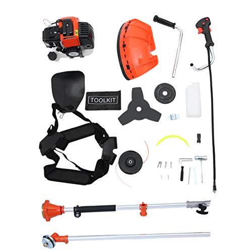 Cortadora de césped profesional de gasolina Detectoy, cortadora de césped universal 2 en 1 con correa para el hombro, cortacésped duradero (naranja y negro)