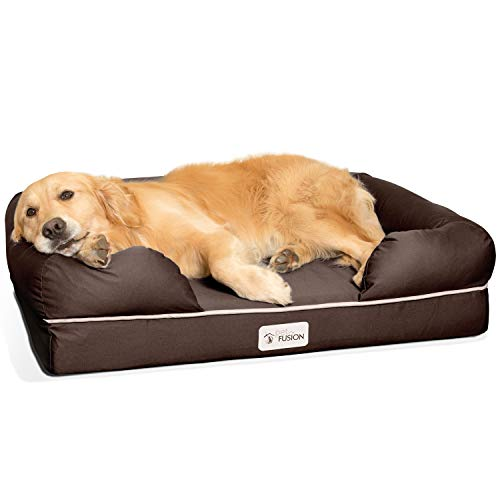 "PetFusion Ultimate Solid 4"" Memory Foam Dog Bed for Medium & Large Dogs (36x28x9"" orthopedic sofa couch; Brown). Replacement covers & blankets also avail"
