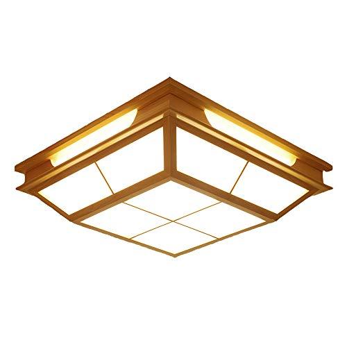 LED-Patch Deckenleuchte Weiße Lichtbeleuchtung Quadrangular Japanische Art Massivholz Shoji Papier Schlafzimmer Wohnzimmer Konferenzraum 17,72 Zoll / 45cm 31W-40W (Holzfarbe)