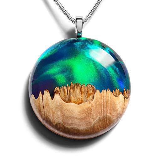 WOOD ALL GOOD Halskette mit Einzigartigem Anhänger aus Synthetischem Opal, Holz und Harz, 20