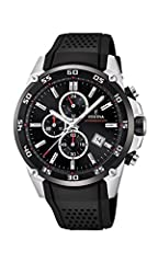 """The Originals"" collection Festina watch with Stainless Steel Round Case Water Resistance to 100 meters Rubber Strap with Classic Stainless steel Buckle Hardend Mineral Glass Chronograph Functions"