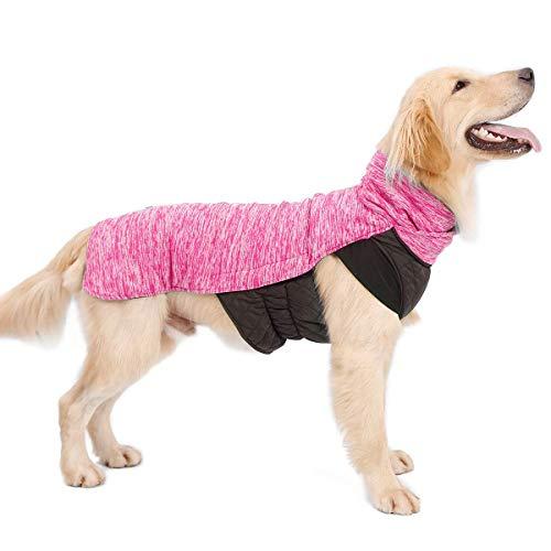LIVACASA Hundemantel Winddicht Warm Hundejacke Gepolstert Wasserabweisend Wintermäntel Winterjacke für Hunde Reflektierend Bauchschutz Mit Leineloch Winter Hundewintermantel Rosa XL