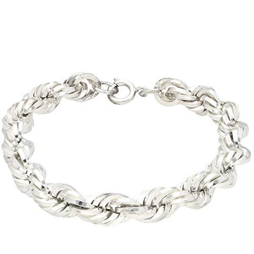 Pulsera para hombre de plata de ley de 20,3 cm de cuerda sólida (8 mm de ancho) | One of a Kind Jewellery