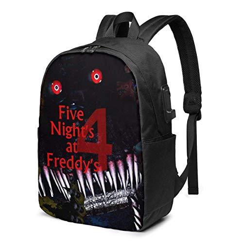 PCYN 17 Zoll Rucksack Laptop USB Ladegerät Bookbag Five_Night_S_at_Freddy_S Daypack Mode Frauen Boy Label Kartentasche