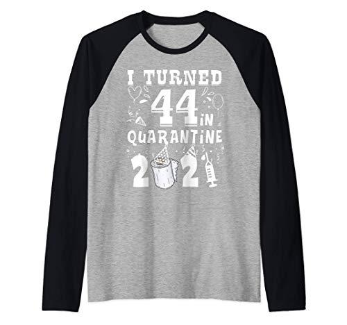 I Turned 44 In Quarantine 2021 Tee Funny 44th Birthday gift Raglan Baseball Tee