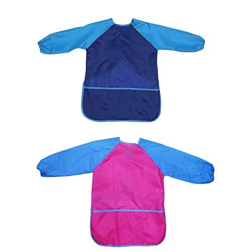 2 pcs Grembiule pittura bambini tuta pittura impermeabile bambini unisex di 5-8 anni grembiule bambini con maniche e 2 tasche usato per pittura d'arte scolastica cucina alimentazione(Blu/rosa rossa)