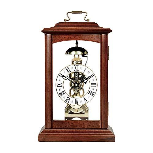 Reloj de chimenea con timbre cada hora con esfera romana, reloj de escritorio de madera, reloj de manto retro de madera, reloj de escritorio (color: marrón) ZZYYLLYZ