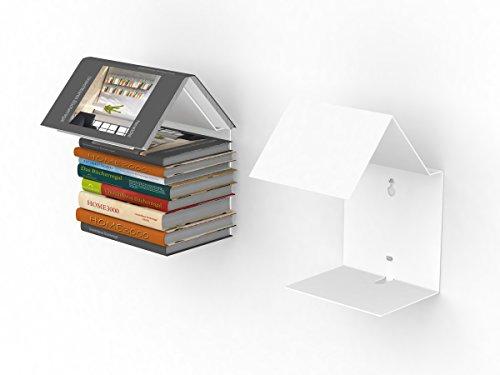 home3000 Bookmark Regal/unsichtbares Bücherregal in Weiss Bücherregal und Lesezeichen zugleich