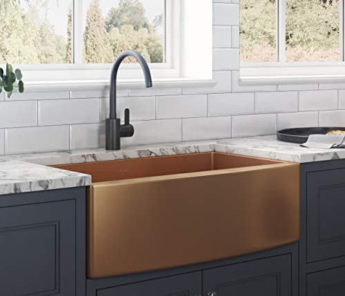 Ruvati Copper Tone 33-inch Apron-Front Farmhouse Kitchen Sink - Matte Bronze Stainless Steel Single Bowl - RVH9733CP