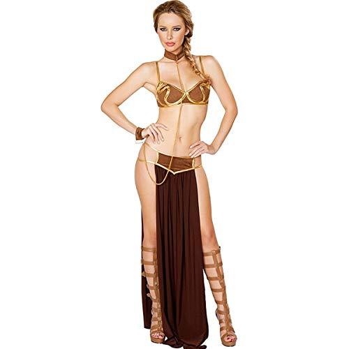 MSSJ Mujeres Adultas Sexy Star Wars Princesa Leia Slave Bra + Falda Vestido Negro Fiesta de Carnaval de Halloween Vestidos Anime Cosplay Disfraces XL A