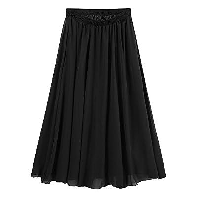 Ourlove Fashion Women's Bohemian Elastic Waist Band Pleated Retro Maxi Long Skirt Dress