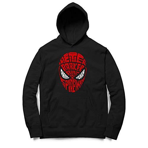 Sweat à Capuche pour Hommes en Coton Modèle Peter Spiderman Parka Texte Art - Noir, L