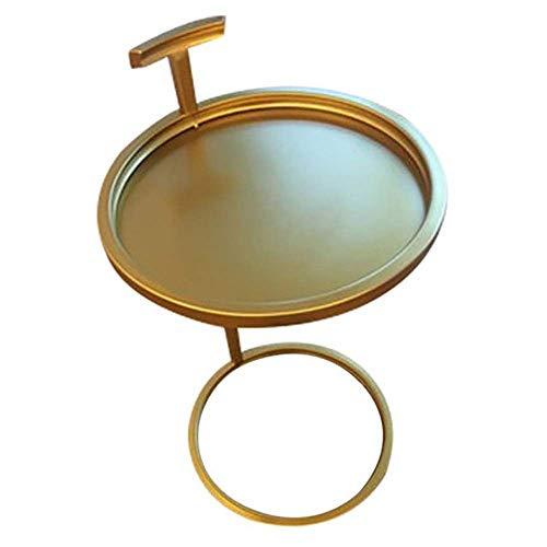 JINKEBIN Mesa plegable para dormitorio, mesita de noche, pequeña mesa de café, simple y pequeña, mesa auxiliar decorativa (color: dorado y metal, tamaño: 40 x 40 x 70 cm)