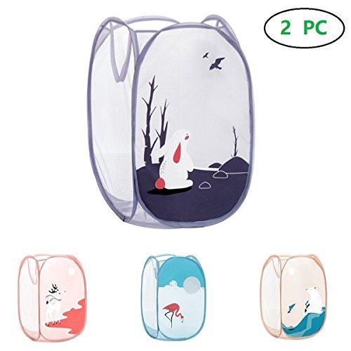 2 Stück Cartoon Faltbare Pop Up Mesh Waschen Wäsche Korb Bin Hamper Tasche, Lovely Wäschekorb für Baby Kleidung, BH, Dessous, Socken, Strumpfhosen, Strümpfe, Unterwäsche