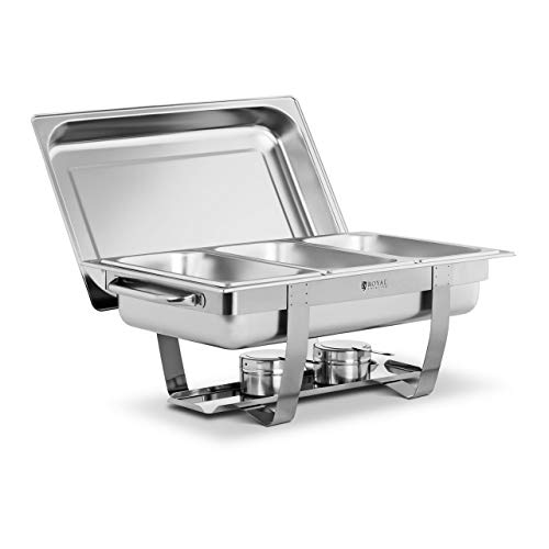 Royal Catering Chafing Dish Réchaud Professionnel Bain-Marie Buffet RCDB-1/3P-65 (7 l, 3 Bacs GN 1/3, 2 Brûleurs, Poignées Latérales, Inox)