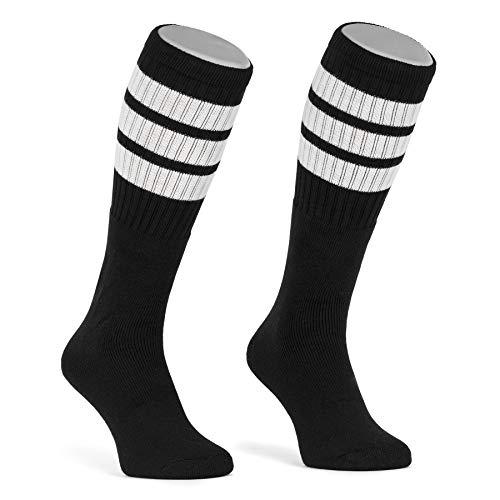 skatersocks 22 Inch kniehohe gestreifte Damen Socken Kniestrümpfe knee high overknee Herren Retro Tube Socks schwarz - weiss gestreift - UNISEX - OSFA