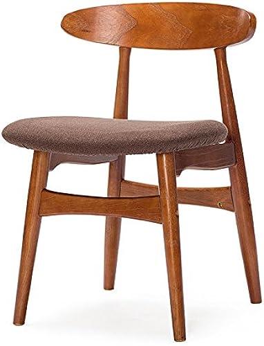 Wooden stool Bürom l, Einfache Moderne Couchtisch Tische und Stühle, Nordic Retro Stühle, Esszimmerstühle, Massivholz Rückenlehnstühle (Farbe   Braun)