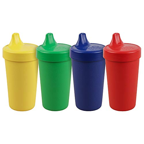 RE-PLAY 4pk - 10 oz. No Spill Sippy Cups for Baby, Toddler, and Child Feeding in Red, Yellow, Navy and Kelly Green | BPA Free | Made in USA from Eco Friendly Recycled Milk Jugs | Primary+