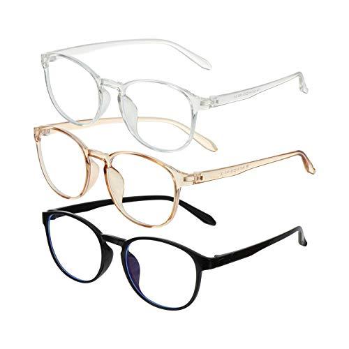 Mobestech 3 Pares Azul Óculos de Luz de Bloqueio Bloqueio Eyewear Gaming Óculos Anti Blue Ray Blue Ray Óculos de Computador Óculos de Leitura de Jogo para As Crianças Homem Mulher Crianças
