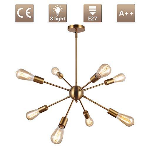 Asvert Sputnik Kronleuchter Pendelleuchte gold Modern Hängelampe E27 Lampenfassung Brass Metall für Wohnzimmer Küche Restaurant usw. (ohne Leuchtmittel) (8 Flammig)