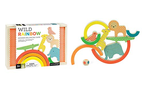 Petit Collage Eco Friendly Wild Rainbow Wooden Balancing Game, Ages 3+, 2-4 Players