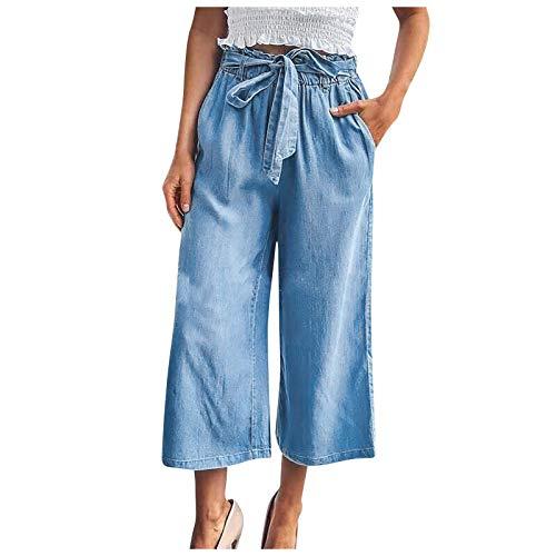 JOIMINGD Hosen Hose Jeans Damen Bequeme High Waist Culotte Baggy Langer Elegant Stretch Regular Fit Jeanshose Stoffhose Chinohose