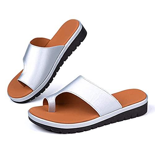 Sandalias Planas Cómodas para Mujer Zapatos Ortopédicos Verano Sandalias Corrección Pie Dedo Gordo Cuero Correa En El Tobillo Corrector Juanetes Ortopédico Zapatillas Viaje En La Playa,Plata,37