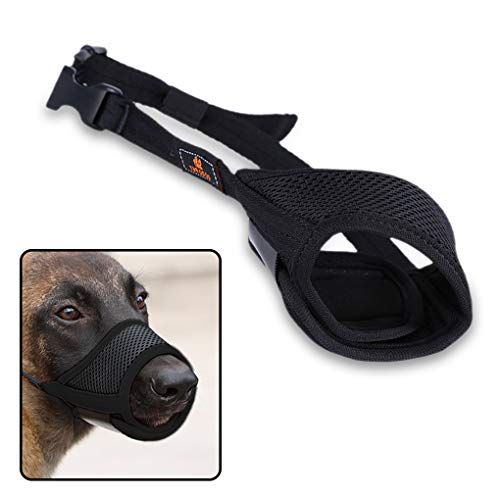 Andiker Maulkorb für Hunde, atmungsaktives Netzgewebe und langlebiges Nylon, mit Verstellbarer Schlaufe und weichem Pad für Hundetraining, verhindert Bellen, Beißen und Kauen