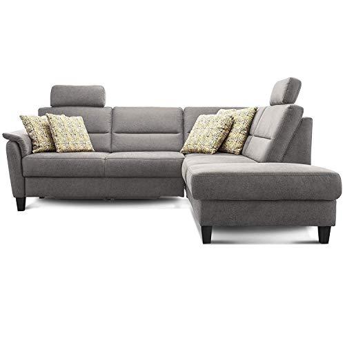 Cavadore Ecksofa Palera mit Federkern / L-Form Sofa mit Ottomanen rechts / 236 x 89 x 212 / Büffellederoptik Hellgrau