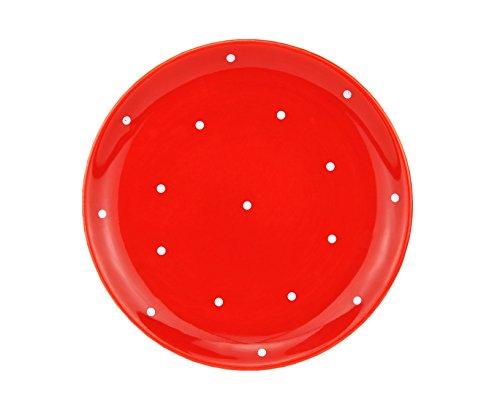 Lausitzkeramik Teller rot/weiß gepunktet - K231