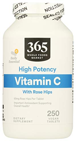 365 by Whole Foods Market, Supplements - Vitamins, C with Rose Hips - High Potency (Vegan Tablets), 250 Count