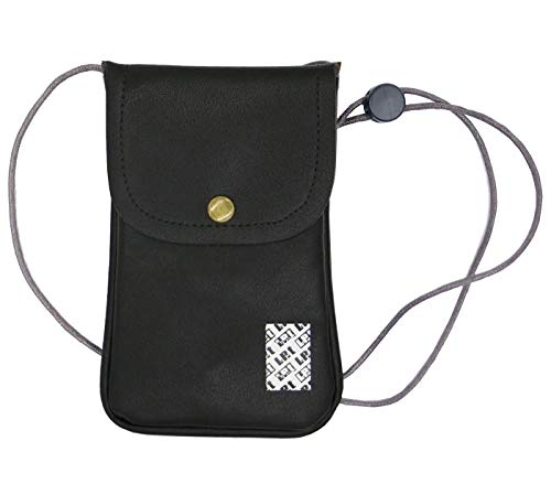 LefRight Casual Fashion PU Leather Cellphone Neck Pouch Bag Credit Card Holder with Adjustable Sling for iPhone XR 7 Plus Galaxy S3 S4 S5 S6 S7 Edge (Black)