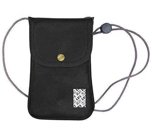 LefRight Funda de piel sintética para el cuello del teléfono celular, con correa ajustable para iPhone XR 7 Plus Galaxy S3, S4, S5, S6, S7 Edge, color negro