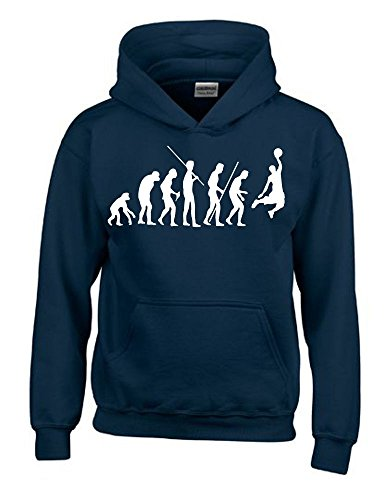 Coole-Fun-T-Shirts Basketball Evolution Kinder Sweatshirt mit Kapuze Hoodie Navy-Weiss, Gr.164cm