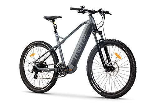 """Moma Bikes Bicicleta Eléctrica E-MTB 27.5"""", Shimano 24vel, frenos hidráulicos, batería Litio 48V 13Ah (624Wh)"""