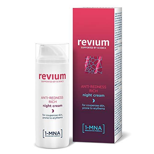 Revium Rosacea reichhaltige Anti-Rötungs Nachtcreme für Erythem-anfällige Couperose-Haut, mit 1-MNA-Molekül, Chlorella-Vulgaris-Grünalgen-Extrakt, Acerola-Frucht, Macadamia-Öl, Sheabutter, 50ml