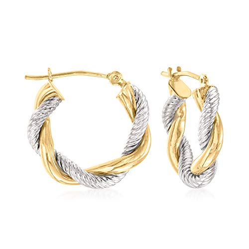 Ross-Simons 14kt 2-Tone Gold Twisted Hoop Earrings For Women