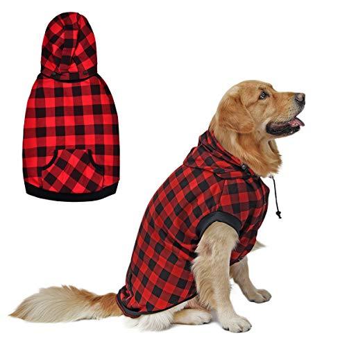 PAWZ Road Hund Kariertes Hemd Hundemantel Hoodie Britischer Stil Pullover Hundejacke Hundemantel Waschbar Frühling Herbst Winter Warme Kleidung Für Welpen Klein Mittel Große Hunde Rot XS 35cm