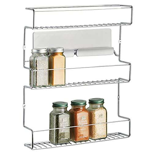 mDesign Especiero de cocina autoadhesivo AFFIXX – Estanterías metálicas para especias con tres estantes – Práctico organizador de especias de color plateado – Metal
