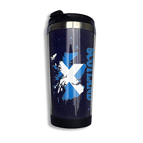 Scotland Flag Map Coffee Cup with Lid for Tea Coffee Portable Stainless Steel 400 Ml