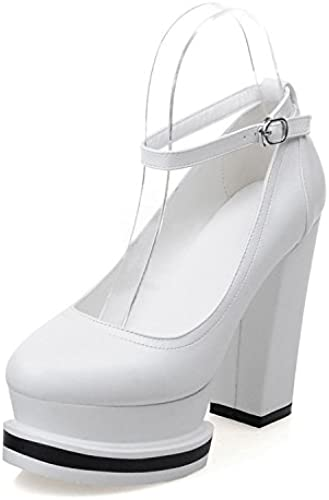 Xie Femmes Talons Hauts Talons épais Plateforme imperméable à l'eau Une Bouche à Une Boule Chaussures Bouche Superficielle Chaussures de fête Simple