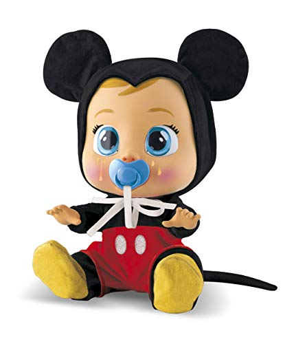 Bebés Llorones Mickey Mouse - Muñeco interactivo que llora de verdad con chupete y pijama de Mickey