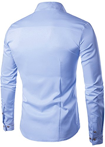 Whatlees Mens Long Sleeve Extra Long Embroidery Design Party Club Button Down Dress Shirt B404-Blue-S